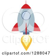 Modern Flat Design Of A Red And Metal Rocket Taking Off