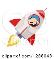 Clipart Of A Modern Flat Design Of A White Businessman Holding A Thumb Up And Flying In A Rocket Royalty Free Vector Illustration