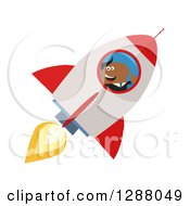 Clipart Of A Modern Flat Design Of A Black Businessman Holding A Thumb Up And Flying In A Rocket Royalty Free Vector Illustration
