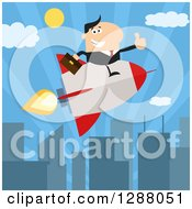 Clipart Of A Modern Flat Design Of A White Businessman Holding A Thumb Up And Flying In A Rocket Over A City Royalty Free Vector Illustration