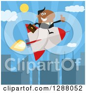 Clipart Of A Modern Flat Design Of A Black Businessman Holding A Thumb Up And Flying In A Rocket Over A City Royalty Free Vector Illustration