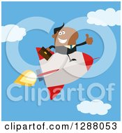 Clipart Of A Modern Flat Design Of A Black Businessman Holding A Thumb Up And Flying In A Rocket Against A Sky Royalty Free Vector Illustration