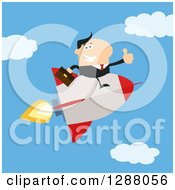 Clipart Of A Modern Flat Design Of A White Businessman Holding A Thumb Up And Flying In A Rocket Against A Sky Royalty Free Vector Illustration
