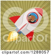 Clipart Of A Modern Flat Design Of A Black Businessman Holding A Thumb Up And Flying In A Rocket Over Grungy Green Rays And Halftone Royalty Free Vector Illustration