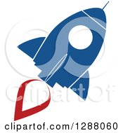 Clipart Of A Modern Flat Design Of A Blue And White Rocket With A Red Trail Royalty Free Vector Illustration