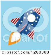 Clipart Of A Modern Flat Design Of An American Rocket Over Blue Royalty Free Vector Illustration by Hit Toon