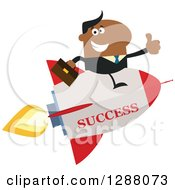 Clipart Of A Modern Flat Design Of A Black Businessman Holding A Thumb Up And Flying On A Success Rocket Royalty Free Vector Illustration by Hit Toon