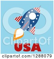 Clipart Of A Modern Flat Design Of An American Rocket With USA Text Over Blue Royalty Free Vector Illustration