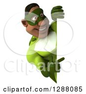 Clipart Of A 3d Muscular Male Black Super Hero In Green Pointing Around A Sign Royalty Free Illustration