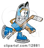 Clipart Picture Of A Wireless Cellular Telephone Mascot Cartoon Character Playing Ice Hockey by Toons4Biz