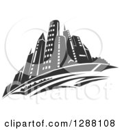 Clipart Of A Dark Gray City Skyscraper Skyline Royalty Free Vector Illustration by Vector Tradition SM
