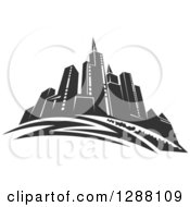 Clipart Of A Dark Gray City Skyscraper Skyline 2 Royalty Free Vector Illustration