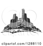 Clipart Of A Dark Gray City Skyscraper Skyline 3 Royalty Free Vector Illustration