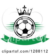 Clipart Of A Crown Over A Black And White Soccer Ball With Green Marks And A Blank Banner Royalty Free Vector Illustration by Vector Tradition SM