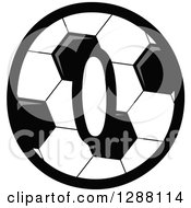 Grayscale Soccer Ball Number Zero