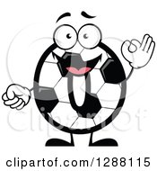 Clipart Of A Soccer Ball Number Zero Character Gesturing 0 Fingers Royalty Free Vector Illustration