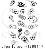 Clipart Of Black And White And Grayscale Soccer Balls 2 Royalty Free Vector Illustration