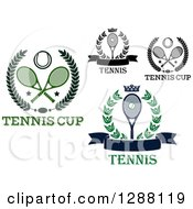 Clipart Of Tennis Sports Wreaths Royalty Free Vector Illustration