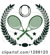 Clipart Of A Black Wreath With Stars Crossed Green Tennis Rackets And A Ball Royalty Free Vector Illustration