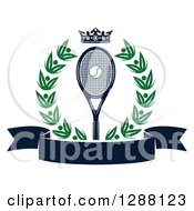 Clipart Of A Green Wreath A Navy Blue Crown Ball And Racket Over A Blank Banner Royalty Free Vector Illustration