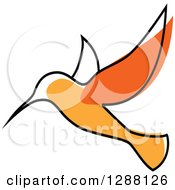 Clipart Of A Sketched Orange Hummingbird Royalty Free Vector Illustration