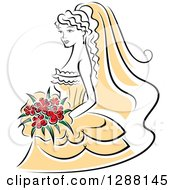 Clipart Of A Sketched Black And White Bride With Red Flowers And A Yellow Dress Royalty Free Vector Illustration