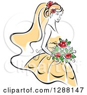 Clipart Of A Sketched Black And White Bride With Blond Hair Red Flowers And A Yellow Dress Royalty Free Vector Illustration