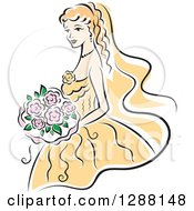 Clipart Of A Sketched Blond Caucasian Bride With Pink Flowers And A Yellow Dress Royalty Free Vector Illustration
