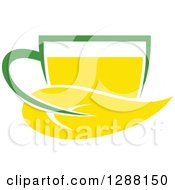 Clipart Of A Green And Yellow Tea Cup With A Leaf 5 Royalty Free Vector Illustration