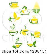 Poster, Art Print Of Green And Yellow Tea Cups And Pots With Leaves 4