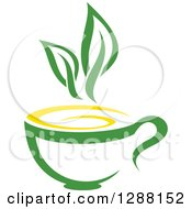 Clipart Of A Green And Yellow Tea Cup With Leaves 3 Royalty Free Vector Illustration