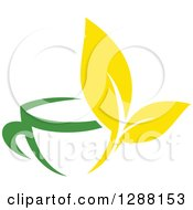 Clipart Of A Green And Yellow Tea Cup With Leaves Royalty Free Vector Illustration