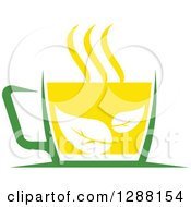 Clipart Of A Green And Yellow Tea Cup With Leaves 2 Royalty Free Vector Illustration