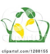 Clipart Of A Green And Yellow Tea Pot With Leaves 7 Royalty Free Vector Illustration