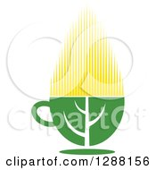 Clipart Of A Green And Yellow Tea Cup With A Leaf 8 Royalty Free Vector Illustration