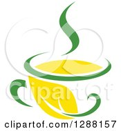 Clipart Of A Green And Yellow Tea Cup With A Leaf 6 Royalty Free Vector Illustration