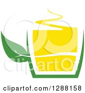 Clipart Of A Green And Yellow Tea Cup With A Leaf 7 Royalty Free Vector Illustration