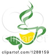 Clipart Of A Green And Yellow Tea Cup With Leaves 4 Royalty Free Vector Illustration