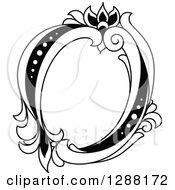 Clipart Of A Black And White Vintage Floral Capital Letter O Royalty Free Vector Illustration