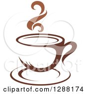 Clipart Of A Two Toned Brown And White Steamy Coffee Cup On A Saucer 12 Royalty Free Vector Illustration