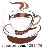 Clipart Of A Two Toned Brown And White Steamy Coffee Cup On A Saucer 13 Royalty Free Vector Illustration