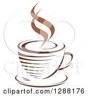 Clipart Of A Two Toned Brown And White Steamy Coffee Cup On A Saucer 14 Royalty Free Vector Illustration