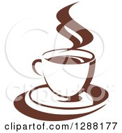 Clipart Of A Two Toned Brown And White Steamy Coffee Cup On A Saucer 15 Royalty Free Vector Illustration