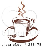 Clipart Of A Two Toned Brown And White Steamy Coffee Cup On A Saucer 16 Royalty Free Vector Illustration