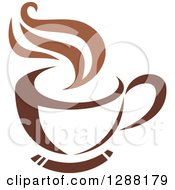 Clipart Of A Two Toned Brown And White Steamy Coffee Cup On A Saucer 17 Royalty Free Vector Illustration