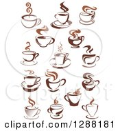 Clipart Of Brown And Steamy Coffee Cups Royalty Free Vector Illustration
