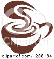 Clipart Of A Dark Brown And White Coffee Cup With Steam Royalty Free Vector Illustration