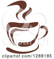 Clipart Of A Two Toned Brown And White Steamy Coffee Cup On A Saucer 20 Royalty Free Vector Illustration