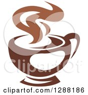 Clipart Of A Two Toned Brown And White Steamy Coffee Cup 4 Royalty Free Vector Illustration