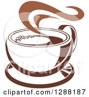 Clipart Of A Two Toned Brown And White Steamy Coffee Cup On A Saucer 19 Royalty Free Vector Illustration